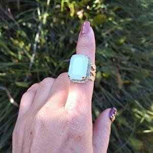 Sorrelli Ring w/Light Blue Milky Quartz Focal
